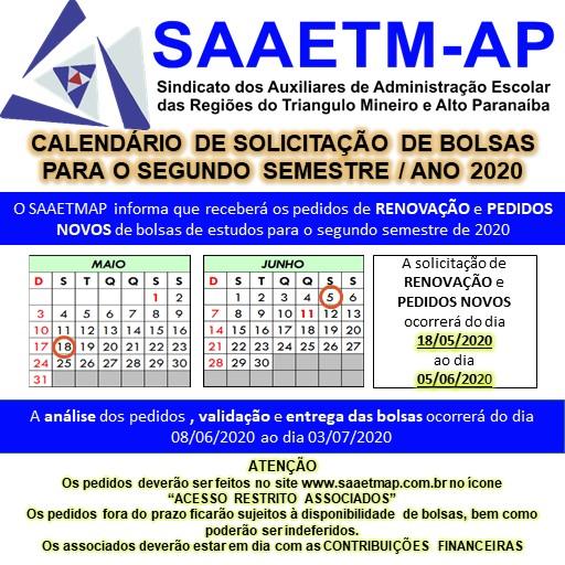 CALENDÁRIO DE SOLICITAÇÕES DE BOLSAS DE ESTUDOS 2020 - 2º SEMESTRE